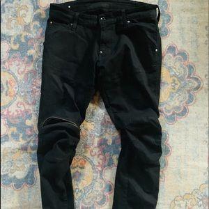 Gstar Black Skinny stretch denim with knee pocket
